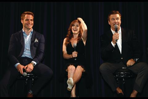 "Chris Pine, Isla Fisher and Alec Baldwin speak during a ""Rise of the Guardians"" Q&A"
